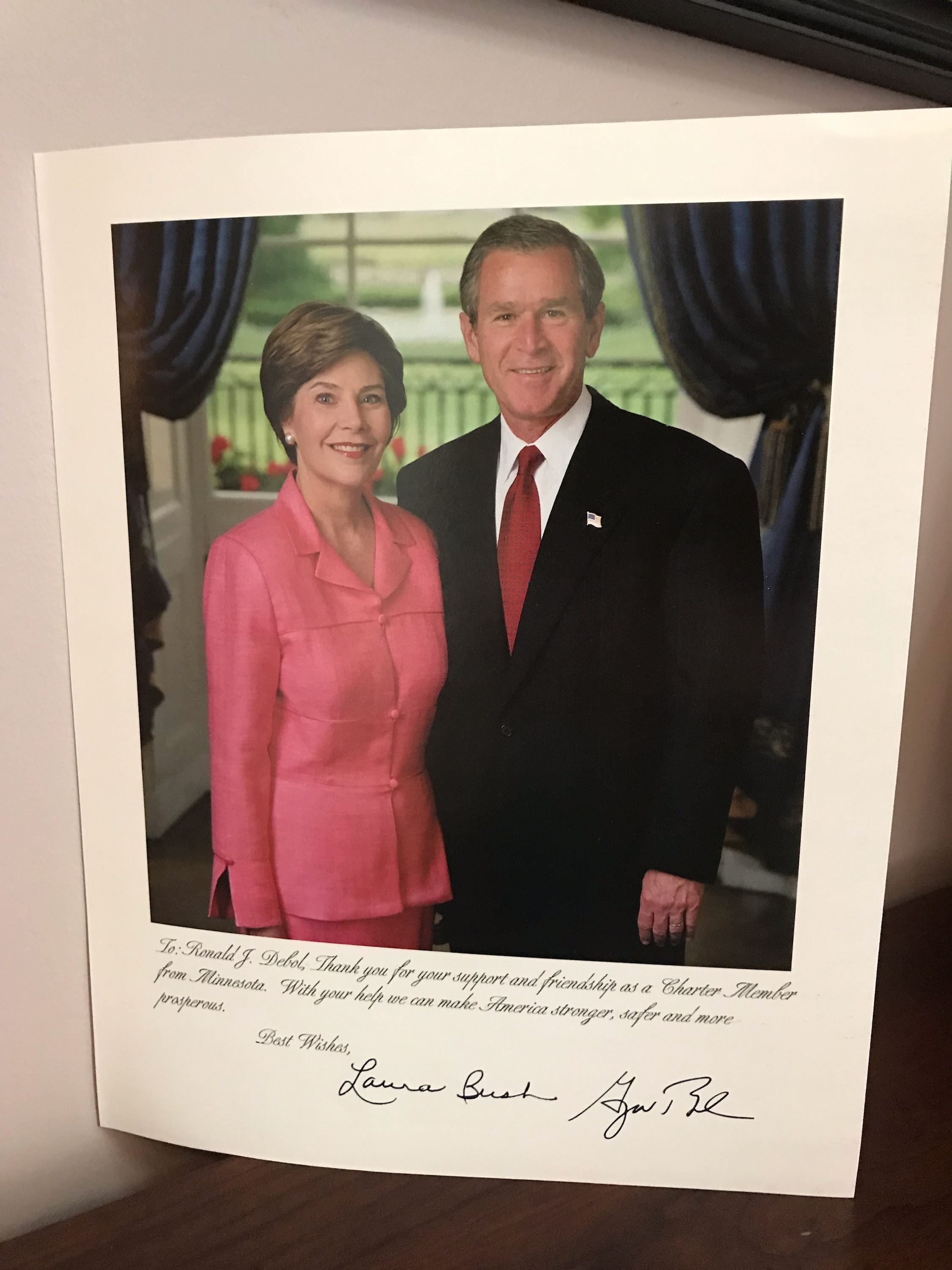 Signed President George W. and Laura Bush Photo