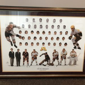 "Minnesota Gophers Hockey ""Legends on Ice"" print, signed by Gopher hockey greats."